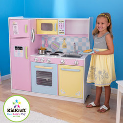 KidKraft - Pastel Play Kitchen Set - Give your little kitchen helpers a new kitchen of their own with the Pastel Play Kitchen Set. This updated model features a solid white counter top, plastic stove burners and metal sink faucet to replicate real kitchen fun! With tons of storage and creative features, your chefs will never get bored! Features: -Constructed of wood and wood products -Functional refrigerator doors -Knobs on the sink and oven that turn -Metal sink faucet -4 metal stove burners -Large white countertop -Transparent doors on the microwave and oven -Frescoed water and ice dispensers on refrigerator -Includes clock, phone with caller ID and notepad on side of fridge -Several shelves for storage
