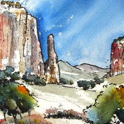 Canyon de Chelly Valley - Original Watercolor Painting - Another watercolor in a series I have started called Canyonlands.  Throughout my life I have been inspired by the magnificent landscape of the west, especially those special places where the rock soars.  Canyon De Chelly in Northern Arizona