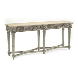 Kathy Kuo Home - Minetta Italian Sage Green Carved Acanthus Leaf Marble Console - 77 IN - The word classic gets used a lot, which is unsurprising given how diverse our definitions of classic are: ranging from a great pair of Levis to the Coliseum in Rome.  This gorgeous marble topped console definitely belongs to the latter group.  Classic with a capital C. With tapered reeded legs, terminating with acanthus leaf carvings, beaded and floret carved rails supporting the distressed marble top and a cool sage hue tying it all together, this piece exists beyond trends and will most certainly add a timeless sense of beauty and refinement to any room it graces.
