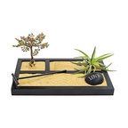 luludi living frames - Luludi Living Frames Zen Stone Garden - Zen gardens are calming landscapes ideal for meditative thought and contemplation. A mini oasis of beautiful serenity for your home or office, simply enjoy the garden's beauty or engage in a meditative exercise while creating sand patterns with the rake. Our zen love garden comes with one black stenciled stone with six word options, a wire tree with beaded branches and an air plant atop colored sand in a black wood three section box with matching rake., available as shown or may be custom-tailored:,