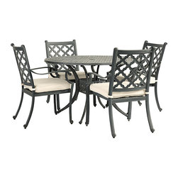 "Ballard Designs - Maison 5-Piece Round Dining Set - Includes 48"" Round Dining Table & 4 Dining Armchairs. Basic off-white box cushions included. Coordinates with Maison Dining Collection & Maison Lounge Collection. Replacement cushions available. Requires 1 replacement cushion per chair>. Use of an outdoor furniture cover is recommended to extend the life of your piece. The graceful geometric pattern of our timeless 5-Piece Maison Dining Set was inspired by Mediterranean tile work. Hand applied zinc finish frames are crafted of fully welded cast aluminum, making them exceptionally strong and resistant to chipping and rust.Maison 5-Piece Round Dining Set features:. . . Replacement cushions available. Requires 1 replacement cushion per chair. >."