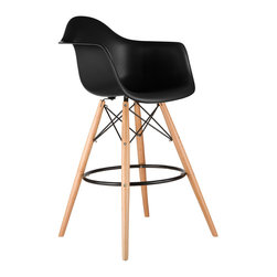 Barstool Arm Chair in Black - Take iconic mid-century modern design to new heights. Inspired by the classic design aesthetic of our Montmarte Arm Chair, the Barstool Arm Chair offers stylish modern seating for your counter-height needs. The chair features a smooth polypropylene seat with a waterfall edge for added support. It also features natural wood dowel legs. We see this chair fitting in at the kitchen island, providing a comfortable seat for late night stacks or kitchen chatter. Available in a variety of vibrant colors, the chair will spruce up your décor without overpowering the room.