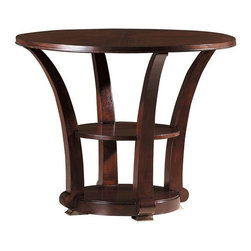 Hekman Furniture - Metropolis Round Game Table - Two shelves. Rosewood and ribbon striped mahogany solids and veneer. Warranty: One year. Made from select hardwood solids and veneers. Metropolis finish. 36.25 in. Dia. x 29 in. H