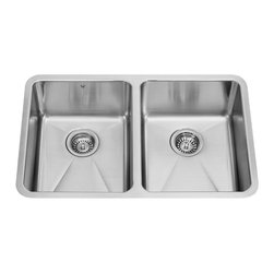 Vigo - 29in.  Undermount Stainless Steel 18 Gauge Double Bowl Kitchen Sink - The VIGO undermount kitchen sink complements any decor and is highly functional.