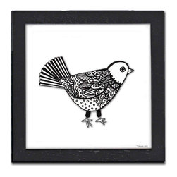 Little Bird Pen & Ink - The Little Bird Pen & Ink is a print of the original by Pamela Corwin. The tiny intricate patterns in these works create wonderfully detailed graphic designs. Framed in a classic black frame and available in two sizes, this handsome print will fit in any room .