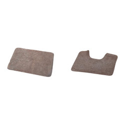 Set of 2 Bath Mat and Toilet Contour Mat Brown Glaze - This set of one bath mat and one toilet contour mat is made of 80% cotton and 20% polyester. Soft and deep, it's a great way to freshen up a bathroom with its clean look and plush comfort. The rectangular rug is perfect beside the tub or in front of the sink and the toilet contour rug fits easily around any toilet. Machine wash cold and no dryer. Manufacturer recommends using a nonskid pad beneath the rug (not included). Indoor use only. Measures of the bath mat: width 20-Inch and length 27.5-Inch, contour mat: width 20-Inch and length 16-Inch. Color brown glaze. Complete that perfect look in your bathroom today with this beautiful bath mat set. Imported.