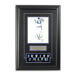 """Heritage Sports Art - Original art of the NFL 1993 Indianapolis Colts uniform - This beautifully framed piece features an original piece of watercolor artwork glass-framed in an attractive two inch wide black resin frame with a double mat. The outer dimensions of the framed piece are approximately 17"""" wide x 24.5"""" high, although the exact size will vary according to the size of the original piece of art. At the core of the framed piece is the actual piece of original artwork as painted by the artist on textured 100% rag, water-marked watercolor paper. In many cases the original artwork has handwritten notes in pencil from the artist. Simply put, this is beautiful, one-of-a-kind artwork. The outer mat is a rich textured black acid-free mat with a decorative inset white v-groove, while the inner mat is a complimentary colored acid-free mat reflecting one of the team's primary colors. The image of this framed piece shows the mat color that we use (Medium Blue). Beneath the artwork is a silver plate with black text describing the original artwork. The text for this piece will read: This original, one-of-a-kind watercolor painting of the 1993 Indianapolis Colts uniform is the original artwork that was used in the creation of this Indianapolis Colts uniform evolution print and tens of thousands of other Indianapolis Colts products that have been sold across North America. This original piece of art was painted by artist Tino Paolini for Maple Leaf Productions Ltd. Beneath the silver plate is a 3"""" x 9"""" reproduction of a well known, best-selling print that celebrates the history of the team. The print beautifully illustrates the chronological evolution of the team's uniform and shows you how the original art was used in the creation of this print. If you look closely, you will see that the print features the actual artwork being offered for sale. The piece is framed with an extremely high quality framing glass. We have used this glass style for many years with excellent res"""
