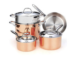 """Cooks Standard - Cooks Standard Multi-Ply Clad Copper NC-00389 8-Piece Cookware Set - What's in the Box: 1-1/2-Quart covered saucepan; 3-Quart covered saucepan; 10-inch open skillet; 8-Quart covered stockpot; Stainless steel Steamer insert fit 8-Qt stockpot What is Multi-Ply Clad Copper? Multi-Ply Clad construction is a combination of 18/10 stainless steel interior with a multi-element aluminum core and exterior polished copper. Copper is excellent material for heat conductivity, professional chef like to use copper cookware to have precise heat control for perfect cooking performance. Discoloration: Copper polish exterior looks elegant, however copper is very sensitive, oxygen in air, make it tarnished even when not in use. when heating cooper cookware, discoloration happen much faster. Regular polish is needed, even NOT in use . NOT Dishwasher Safe Do not wash in dishwasher, wipe dry immediately, lightly polish use a dry cloth, water residue on surface will make it stain and tarnish. Cookware Cleaner such as """"Barkeepers Friend"""" is recommended to polish and restore the shine of copper."""