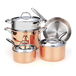 "Cooks Standard - Cooks Standard Multi-Ply Clad Copper NC-00389 8-Piece Cookware Set - What's in the Box: 1-1/2-Quart covered saucepan; 3-Quart covered saucepan; 10-inch open skillet; 8-Quart covered stockpot; Stainless steel Steamer insert fit 8-Qt stockpot What is Multi-Ply Clad Copper? Multi-Ply Clad construction is a combination of 18/10 stainless steel interior with a multi-element aluminum core and exterior polished copper. Copper is excellent material for heat conductivity, professional chef like to use copper cookware to have precise heat control for perfect cooking performance. Discoloration: Copper polish exterior looks elegant, however copper is very sensitive, oxygen in air, make it tarnished even when not in use. when heating cooper cookware, discoloration happen much faster. Regular polish is needed, even NOT in use . NOT Dishwasher Safe Do not wash in dishwasher, wipe dry immediately, lightly polish use a dry cloth, water residue on surface will make it stain and tarnish. Cookware Cleaner such as ""Barkeepers Friend"" is recommended to polish and restore the shine of copper."