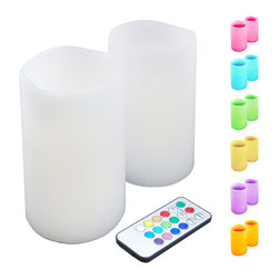 LumaBase Luminarias - Wax Flickering LED Candles- Remote Control Multi Color- 2 Count - The color change LED candle set includes 2 pillar candles and 1 remote control. Change your candles color to suit your mood. Many colors available, yellow, orange, purple, green, blue, red and pink. Perfect for tabletops, windowsills and mantels. This battery operated candle set will add a touch of whimsy to your next event.