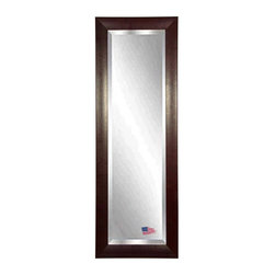 Rayne Mirrors - American Made Espresso Stitched Leather 26.25 x 64.25 Full Body Beveled Mirror - Hang this simply elegant Leather tall mirror in your space for a stylish accent piece that fits well into any decor. The design features a light decorative design in a rectangular shape with a espresso leather finish. Each Rayne mirror is hand crafted and made to order with American products.  All hardware included for vertical or horizontal hanging, or perfect to lean against a wall.