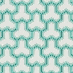 Abstract Design Wallpaper In Teals And Ivory By Antonina Vella, Seabrook Design - Abstract designs aren't for everyone, but in the right room this print would easily elevate a modern space. The teal tones paired with a bright white make for a brilliant pattern.