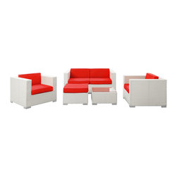 Modway - Modway EEI-607 Malibu 5 Piece Sofa Set in White Red - On the border of the Pacific Ocean lies a place of great peace and quietude. Surrounded by silence, Malibu's soft all-weather red fabric cushions and white rattan base take you to that place, one relaxing and conducive for interaction with others. Abstract past experiences morph into future discoveries with a warm set that helps expand your horizons.