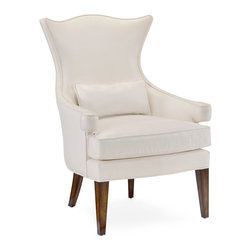 Jacob occasional chair - Sable Finish and White Leather - A feminine hourglass back and volute arms bring tailored curves to a seating plan that includes the Jacob Occasional Chair.  Standing tall on straight and saber legs, simply formed from hardwood, this beautiful upholstered armchair has just enough elegant exaggeration at the corners to make the look distinctive, supple, and traditionally fresh.