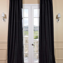 Black Textured Dupioni Silk Curtains & Drapes - Deco and drama go hand in hand. Add elegance to your dining space with floor-to-ceiling black silk curtains.