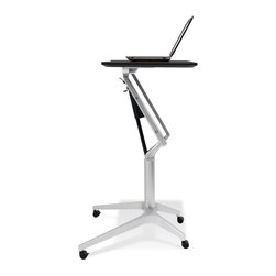 Jesper Office Furniture - 201 Series Height Adjustable WorkPad Table in Black Lacquer - Features:
