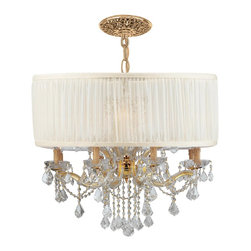 """Crystorama - 4489-GD-SAW-CLM Crystorama Brentwood Collection - This isn't your Grandmother's crystal. The Brentwood Collection from Crystorama offers a nice mix of traditional lighting designs with large tailored encompassing shades. Adding either the Harvest Gold or the Antique White shade to these best selling skus Gold Finish Antique White Drum Shade Clear Hand-Cut Crystals Material: Steel Includes 72"""" of Chain for a Maximum Height of 91"""""""