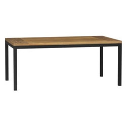 Teak Top/ Natural Dark Steel Base 72x42 Parsons Dining Table - Clean simple lines in four dining sizes are made of hot-rolled steel, hand-welded and ground at each corner to create a raw, torched millscale finish. Top is handcrafted from repurposed teak from Southeast Asia with variations in wood grains, texture and color, knots and other naturally occurring characteristics that add to the distinct character.