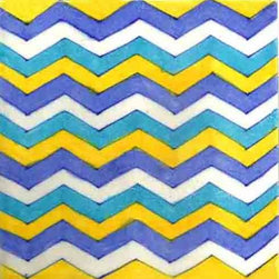 "Knobco - Tiles 6x6"", Turquoise, Blue, Yellow and White Color Zigzag - Turquoise, Blue, Yellow and White Color Zigzag  from Jaipur, India. Unique, hand  painted tiles for your kitchen or   other tiling project. Tile is ""6x6"" in  size."