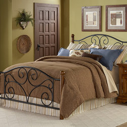 Fashion Bed Group - Doral Queen-size Bed - This steel and wood queen-size bed will add elegance and sophistication to any bedroom. The steel headboard and footboard features an intricate swirl motif detail on its curved headboard. Solid wood posts and steel bedframe make this bed durable.
