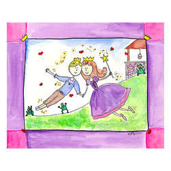 """Oh How Cute Kids by Serena Bowman - Happily Ever After, Ready To Hang Canvas Kid's Wall Decor, 16 X 20 - """"Happily Ever After!""""  Can there be any other ending??  The series goes with 1) Wishing Star ( she makes the wish) 2) """"AS LUCK WOULD HAVE IT"""" she loses her show 3) Wishes and Kisses  ( well you know)  4) """"Happily ever after   There is also 5) Going to the Ball.  I hope you enjoy this series as much as I do.  You can buy one or all five ( sold separately) for easy room decor!"""