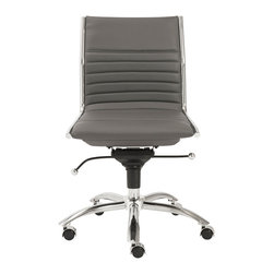 Euro Style - Euro Style Dirk Low Back Office Chair without Arms 01266GRY - High or low. Armrests or not, the Dirk design is very popular for all the right reasons. The front of the seat and the top of the back are one-piece sections for a finished look. The inner seat and lower back are flat bungee bands which offer outstanding comfort that is famous everywhere in the known world.