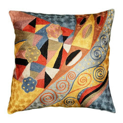"""Modern Silk - Klimt Cushion Cover Signs of Spring Hand Embroidered 18"""" x 18"""" - Klimt Cushion Cover Signs of Spring modern abstract pillow hand embroidered - Seeds, seed pods, tree of life symbols all speak of Gustav Klimt's symbolist paintings. Chaotic colors give it an spirited essence similar to jazz album covers of the 50s (compare Dave Brubeck's 'Take 5' album cover). A 15th century handcraft based on 19th century painting reminiscent of 20th century album covers done by 21st century handcrafters. What could be more perfect? The hand-dyed Kashmir wool embroidery on a cotton back and base makes a durable and easy care cover to update the old or accentuate the new."""