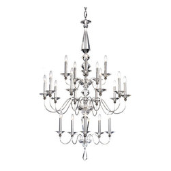 Schonbek - Jasmine Silver 20-Light Clear Optic Handcut Crystal Chandelier, 36W x 57H x 36D - -Optic Handcut: This crystal was formerly only used in optical and scientific instrumentation. This Schonbek innovation is cut by hand and remarkably refractive. Also available in an array of beautiful colors.  - The simplicity of this design reveals the stunning beauty and value of its crystal. The crystal centerpiece features large angular facets that produce expansive rainbows of spectral light.  -Clear Optic Handcut  - Wire Length (in inches): 208  - Light Source: Incandescent Bulb  - Bulbs not included  - Chain Length (in inches): 120  - Uses standard line volt dimmer  - Some assembly required  - For shipping outside of USA, please contact Bellacor customer service  - Cleaning and Care Instructions: Every Schonbek product is of heirloom quality and will last for generations. To ensure it retains its brilliance and splendor for years to come, proper care and regular cleaning are necessary. It is recommended that Schonbek products, and particularly their crystal trim, be lightly dusted with a feather or lambswool duster, or soft brush every two months, or whenever it appears dull or dusty. Consult the fixtures trim diagram for detailed cleaning instructions list of approved cleaning solutions. Schonbeck fixtures should never be subjected to any chemical cleaning agents. - See packaging insert for warranty information. Schonbek  - 9690-40CL