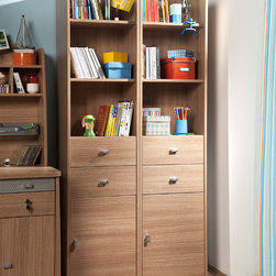 Modern Wood - This elegantly designed shelving and storage unit features sliding drawers and pull cabinets. Wood finish and aluminum hardware.