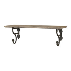 Uttermost - Gualdo Aged Wood Shelf - This could make your bathroom. Who puts an aged wood shelf with metal details in a bathroom to hold extra hand towels, soaps and lotions? You do.