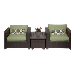 TKC - Premier 3 Piece Outdoor Wicker Patio Furniture Set 03a 2 for 1 Cover Set - Features: