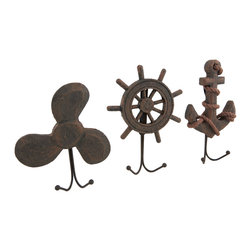 Zeckos - Set of 3 Weathered Finish Anchor Prop and Wheel Nautical Wall Hooks - Embellish your walls with this decorative, yet practical wall hook set that will add a nautical highlight to any room. They are perfect for hanging swimsuits and towels in the bathroom or out in the cabana, or for hanging dog leashes, reusable grocery bags, jackets and hats. Each piece measures approximately 7.5 inches (19 cm) high, 5.25 inches (13 cm) wide and 1.75 inches (4 cm) deep and feature a rope and anchor, a propeller and a ship's wheel, all with a handsome highly weathered finish. This set of 3 hooks easily mount to the wall using the attached hanger on the back, and make a wonderful gift for any fan of nautical decor