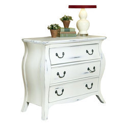 Home Styles - Home Styles The Regency Bombe Chest in White Finish - Home Styles - Chests - 5222422 - The Regency Bombe Chest by Home Styles is Parisian inspired and showcases a French Country sanded and rubbed white distressed finish providing a timeless aged look. The impeccable craftsmanship boasts a mahogany and engineered wood construction with antique pewter bale pull hardware. Other features include three large storage drawers supported by side mount easy-guide suspension. This Chest would look exquisite in any chateau. Size 38w 17d 32h. Assembly required.
