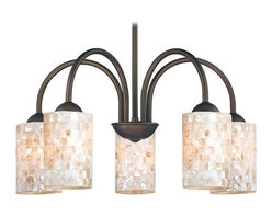 Design Classics Lighting - Chandelier with Mosaic Glass in Bronze Finish - 591-220 GL1026C - Mosaic glass neuvelle bronze 5-light chandelier with cylinder glass shades. Takes (5) 100-watt incandescent A19 bulb(s). Bulb(s) sold separately. UL listed. Dry location rated.