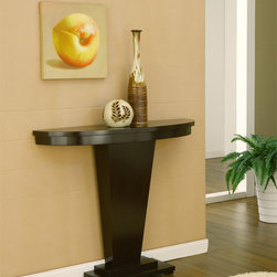 Furniture of America - Furniture of America Audrey Coffee Bean Occasional Table - This stylish table features a round molded top and pyramid design base. This table complements multiple home and office decor and blends well with other furniture.