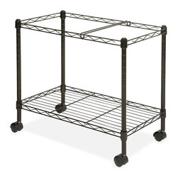 Lorell - Lorell Mobile File Cart - 4 Caster - Steel - 12.9 x 25.8 x 20.5 - Black - Wire file cart offers one tier of mobile filing and a storage shelf to organize projects anywhere in your office. Letter-size folders can be placed in two rows for front-to-back filing or one lengthwise row on the file frame. The bottom shelf can be used for storage or transporting essential project supplies. File frame accommodates both letter-size and legal-size hanging file folders. Wire cart is made of sturdy steel construction with a scratch-resistant, powder-coat finish. Two of the four swivel casters lock so you can secure the cart by your desk or file cabinet with no concern of it rolling away.
