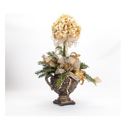 Custom, Handcrafted Cream Hydrangea Christmas Topiary - Custom, handcrafted cream hydrangea christmas topiary