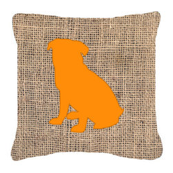 Caroline's Treasures - Pug Burlap and Orange Fabric Decorative Pillow Bb1084 - Indoor or Outdoor Pillow from heavyweight Canvas. Has the feel of Sunbrella Fabric. 18 inch x 18 inch 100% Polyester Fabric pillow Sham with pillow form. This pillow is made from our new canvas type fabric can be used Indoor or outdoor. Fade resistant, stain resistant and Machine washable..