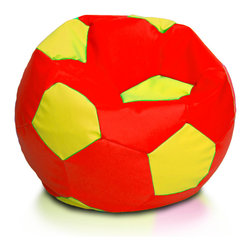 Turbo BeanBags - Beanbag Soccer - L - Multicolor, Red and Yellow, Filled Bag - The Soccer Ball Beanbag is one of the newest products from Turbo BeanBags. Because of its size it's a comfortable chair to sit for a child or make a great addition to a children's room decor. An amazing gift for kids by its innovative design.