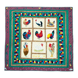 Patch Quilts - Rooster, Quilt Queen - Intricately appliqued and beautifully hand quilted. Machine washable, line or flat dry only. Patch Quilts - QQRSTR