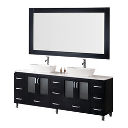 """Design Elements - Design Elements B72-VS Vanity in Espresso - This 72"""" double-vessel-sink version of the Stanton vanity features solid wood cabinets and drawers, an artificial stone countertop, two porcelain vessel sinks, and chrome pop-up drains. Its handsome and understated look will complement any modern bathroom, and the quality of its materials will ensure that its beauty won't fade over time. Moreover, with a generous eleven drawers and two double-door storage cabinets, this Stanton is also at the highest standard of utility in its class."""