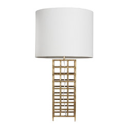 Worlds Away - Worlds Away Gold Leaf Iron Grid Table Lamp SAWYER G - Gold leaf iron grid table lamp with white linen shade. Ul approved for one 60 watt bulb.