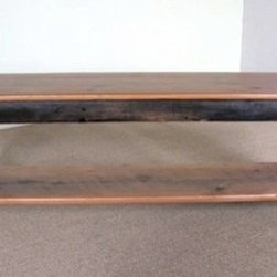 Barn Wood Plank Bench With Shelf - Made by http://www.ecustomfinishes.com