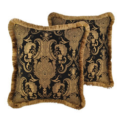 Sherry Kline - Sherry Kline China Art Black 20-inch Decorative Throw Pillows (Set of 2) - Update the decor in your home with this beautiful and fashionable set of Sherry Kline decorative pillows. The elegant pattern on these pillows is sure to add a classic touch of style to any sofa or bedroom set.