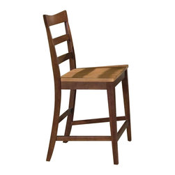 A-America - Wood Ladderback Barstool with Honey & Chestnut Tone - Set of 2 - A graceful curve at the top and a contoured seat add visual interest to this ladder-back bar stool, a durable and stylish addition to your dining decor. Constructed of solid hardwood, the stool is finished in both honey and chestnut and is sold in a set of two. Set of 2. Sculptured saddles. Curved lumbar support back. Made from Solid Hardwood. 17.75 in. W x 20.5 in. L x 41 in. H (39.68 lbs.)Perfect for today's modern customers who prefer solid wood and appreciates a beautiful clean line look with warm finish tones.
