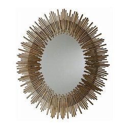 Arteriors Home - Arteriors Home Prescott Oval Iron Mirror - Arteriors Home 6561 - Arteriors Home 6561 - Large-scale oval wall mirror features a sunburst pattern with a rim of thin textured iron reeds in multiple lengths in a gold leaf finish.