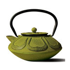 "Old Dutch International - Moss Green Cast Iron ""Meiji"" Teapot, 28 Oz. - Green as the freshest matcha powder, this verdant teapot is a green tea lover's delight. Inspired by the Meiji era's tetsubin tea pots, it's made out of cast iron with beautiful detailing and an enamel interior. Prepare and serve your favorite loose-leaf tea in the included brewing basket."