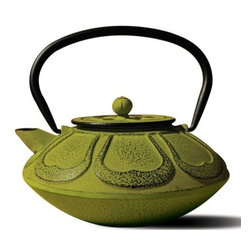 """Old Dutch International - Moss Green Cast Iron """"Meiji"""" Teapot, 28 Oz. - Green as the freshest matcha powder, this verdant teapot is a green tea lover's delight. Inspired by the Meiji era's tetsubin tea pots, it's made out of cast iron with beautiful detailing and an enamel interior. Prepare and serve your favorite loose-leaf tea in the included brewing basket."""