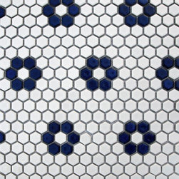 Apricot Tile - Glazed Hexagons Matte White / Cobalt Flower Mini Hexagon Mosaic - Step into a room that reminds you of classic french cafes, when you put down these mini hexagon mosaics.