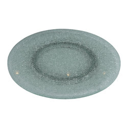 """Chintaly Imports - Lazy Susan 24"""" Clear Sandwich Glass Tray - 360 Rotatable Tray. Clear Crackled Glass. Assembled.."""